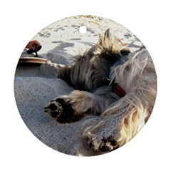 Cairn Terrier Sleeping On Beach Round Ornament (Two Sides)