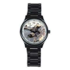 Cairn Terrier Sleeping On Beach Stainless Steel Round Watches
