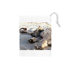 Cairn Terrier Sleeping On Beach Drawstring Pouches (Small)