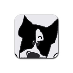 Peeping Boston Terrier Rubber Square Coaster (4 pack)