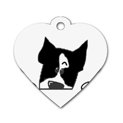 Peeping Boston Terrier Dog Tag Heart (One Side)