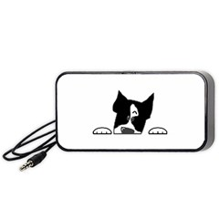 Peeping Boston Terrier Portable Speaker (Black)