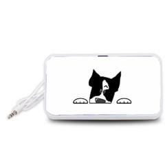 Peeping Boston Terrier Portable Speaker (White)