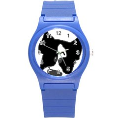 Peeping Boston Terrier Round Plastic Sport Watch (S)