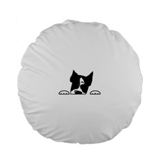 Peeping Boston Terrier Standard 15  Premium Round Cushions