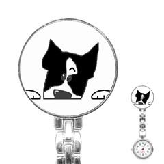 Peeping Boston Terrier Stainless Steel Nurses Watches