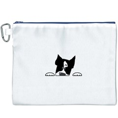 Peeping Boston Terrier Canvas Cosmetic Bag (XXXL)