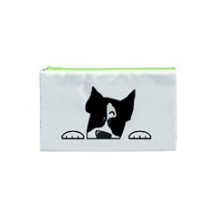 Peeping Boston Terrier Cosmetic Bag (XS)