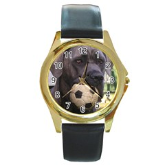 Cane Corso Round Gold Metal Watches