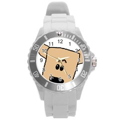 Peeping Chihuahua Round Plastic Sport Watch (L)