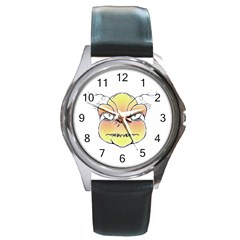 Angry Monster Portrait Drawing Round Metal Watches