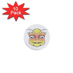 Angry Monster Portrait Drawing 1  Mini Buttons (10 pack)