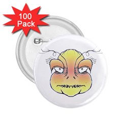 Angry Monster Portrait Drawing 2.25  Buttons (100 pack)