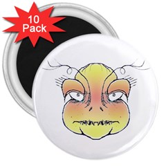 Angry Monster Portrait Drawing 3  Magnets (10 pack)