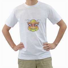 Angry Monster Portrait Drawing Men s T-Shirt (White) (Two Sided)