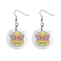 Angry Monster Portrait Drawing Mini Button Earrings