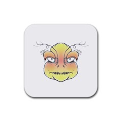 Angry Monster Portrait Drawing Rubber Coaster (Square)