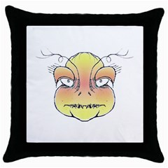 Angry Monster Portrait Drawing Throw Pillow Cases (Black)