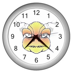 Angry Monster Portrait Drawing Wall Clocks (Silver)