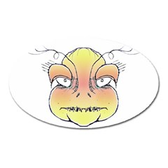 Angry Monster Portrait Drawing Oval Magnet