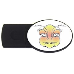 Angry Monster Portrait Drawing USB Flash Drive Oval (1 GB)