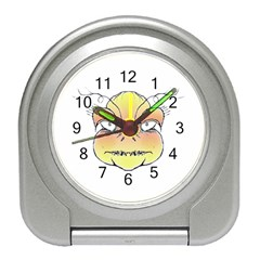 Angry Monster Portrait Drawing Travel Alarm Clocks
