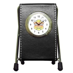 Angry Monster Portrait Drawing Pen Holder Desk Clocks