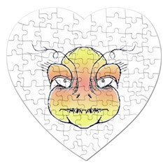 Angry Monster Portrait Drawing Jigsaw Puzzle (Heart)