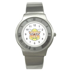 Angry Monster Portrait Drawing Stainless Steel Watches