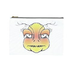 Angry Monster Portrait Drawing Cosmetic Bag (Large)