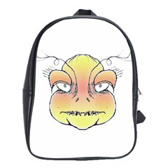 Angry Monster Portrait Drawing School Bags(Large)