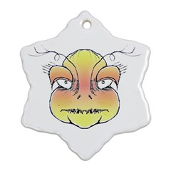 Angry Monster Portrait Drawing Snowflake Ornament (2 Side)