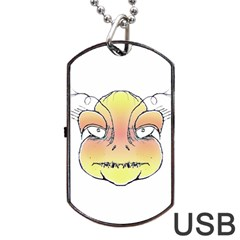 Angry Monster Portrait Drawing Dog Tag Usb Flash (one Side)