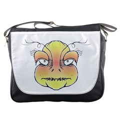 Angry Monster Portrait Drawing Messenger Bags