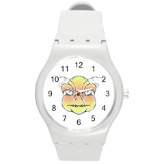 Angry Monster Portrait Drawing Round Plastic Sport Watch (M)