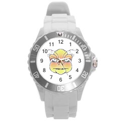 Angry Monster Portrait Drawing Round Plastic Sport Watch (L)