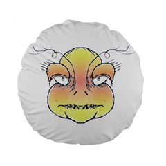 Angry Monster Portrait Drawing Standard 15  Premium Round Cushions