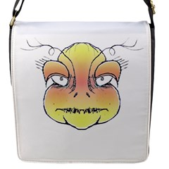 Angry Monster Portrait Drawing Flap Messenger Bag (S)