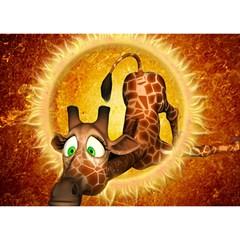I m Waiting For You, Cute Giraffe Birthday Cake 3d Greeting Card (7x5)