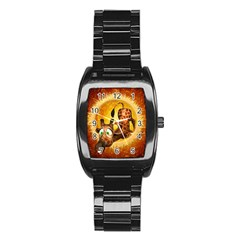 I m Waiting For You, Cute Giraffe Stainless Steel Barrel Watch
