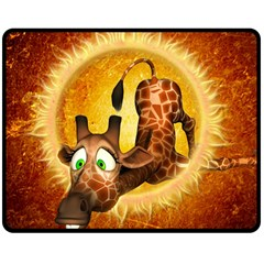 I m Waiting For You, Cute Giraffe Double Sided Fleece Blanket (medium)