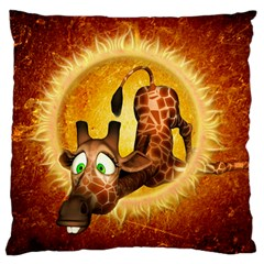 I m Waiting For You, Cute Giraffe Large Flano Cushion Cases (Two Sides)