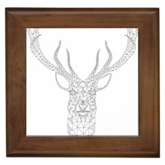 Modern Geometric Christmas Deer Illustration Framed Tiles