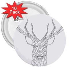 Modern Geometric Christmas Deer Illustration 3  Buttons (10 pack)