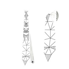 Modern Geometric Christmas Deer Illustration Neckties (Two Side)