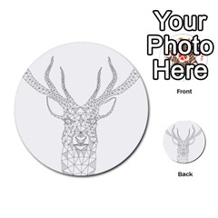 Modern Geometric Christmas Deer Illustration Multi-purpose Cards (Round)