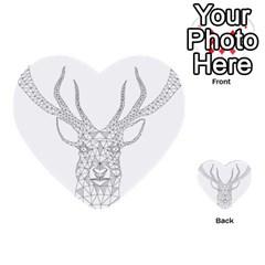 Modern Geometric Christmas Deer Illustration Multi Purpose Cards (heart)