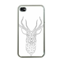 Modern Geometric Christmas Deer Illustration Apple iPhone 4 Case (Clear)