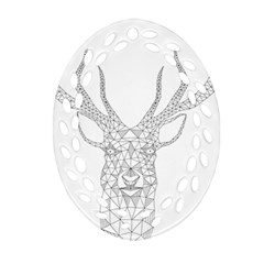 Modern Geometric Christmas Deer Illustration Ornament (Oval Filigree)