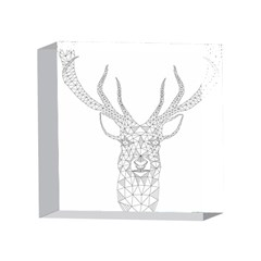 Modern Geometric Christmas Deer Illustration 4 x 4  Acrylic Photo Blocks